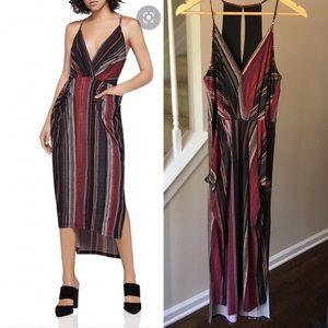 BCBGeneration Wavy Striped Midi Faux Wrap Dress M